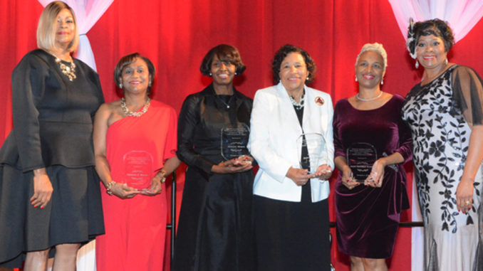 Honorees (from left): ODPEC Board Chair Audrey Gassama, Honoree Vanessa Wyche, Honoree Annette Moore, Honoree Debra L. Johnson, Honoree Donna Blackshear-Reynolds, Houston Alumnae Chapter President Tina Marie Jones-Green (Photo by Joe Lebrane, Super Star Photography)