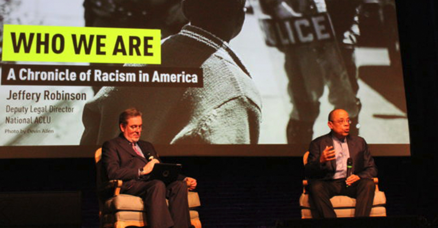 Jeffery Robinson (right), with moderator John Lentine, of Sheffield & Lentine PC, during a program last week on race in America at the Lyric Theatre in downtown Birmingham. (Ameera Steward Photo, The Birmingham Times)