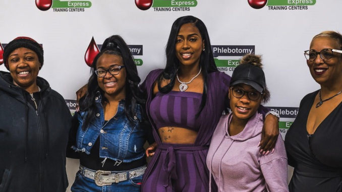 Cheetara Smith, Tykeisha Campbell, Kash Doll, Deneshia Reese, and Phlebotomy Express' CEO Kimberly Harrington. PHOTO: Jonathan Burns