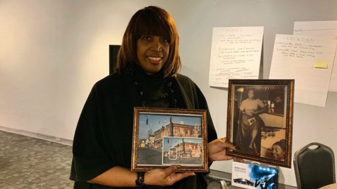 Kim Cooley attended the Black Bottom historical marker meeting. Her grandfather owned a restaurant on Hastings street.