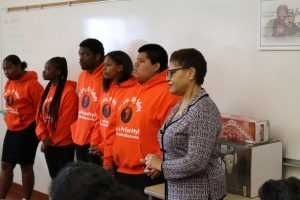 Congresswoman Karen Bass visits students at Dorsey High School to talk about school safety and gun violence. (courtesy photo)