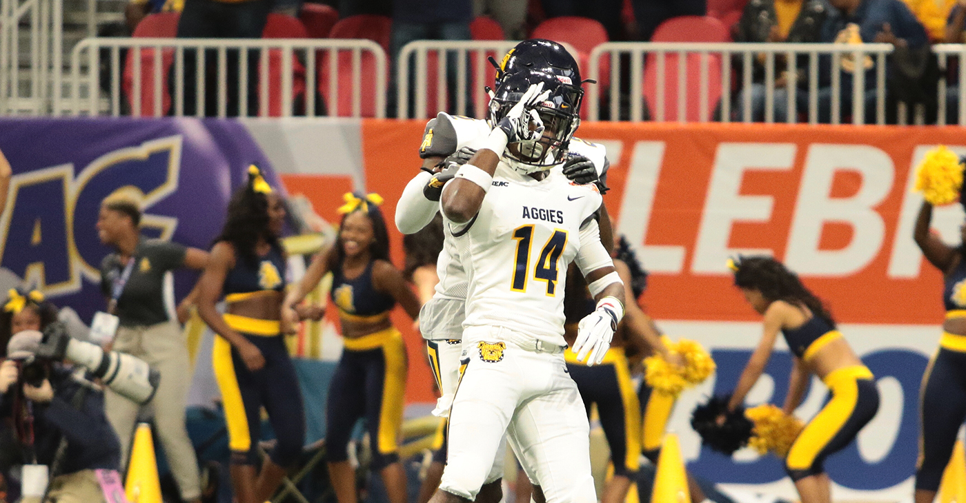 North Carolina A&T Defensive Back Timadre Abram celebrates after intercepting a pass in the 2018 Celebration Bowl, Saturday, December 15, 2018. Photo by: Itoro N. Umontuen/The Atlanta Voice
