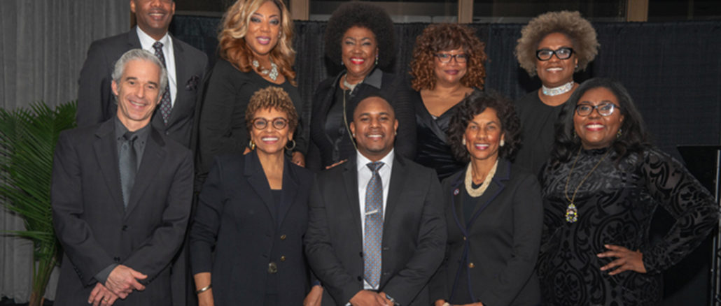 (back row) Dr. A. Dexter Samuels, Minority Business Advocate-MNAA; Harriet Wallace, Emcee-Fox News; Marilyn Robinson, MED Week Coordinator-Nashville Minority Business Center; Jacqueline Rowe, HCA-Corporate Partner; Elaine Reynolds, Minority Business of the Year-CorBrook, LLC; (front row) Jason Rogers and Joyce Searcy, Belmont University-Corporate Partner Award; Robert Sherrill, Minority Business of the Year-Imperial Cleaning Systems; Deborah H. Luter, Commitment Award-MED Week Steering Committee and TDOT; Ashley Northington, MED Week Steering Committee and DENOR Brands (Courtesy of Anthony Beasley photography)
