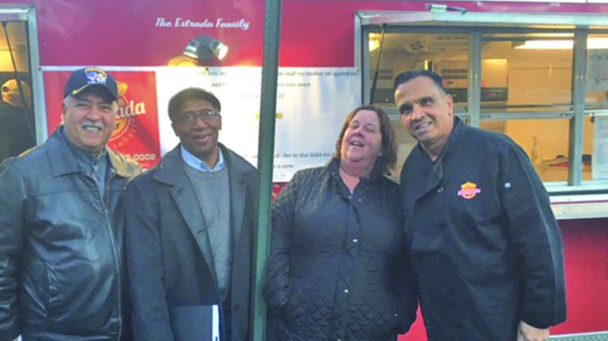 Antonio Rivera, 7 x 7 Ministry; Jesse Howard, President of Interfaith Emergency Housing Project Life; Eileen Robertson, Director of Project Life; and Ruben Estrada, owner of Empanada Master. All joined together to provide free, homemade meals Tuesday to families in a local homeless shelter