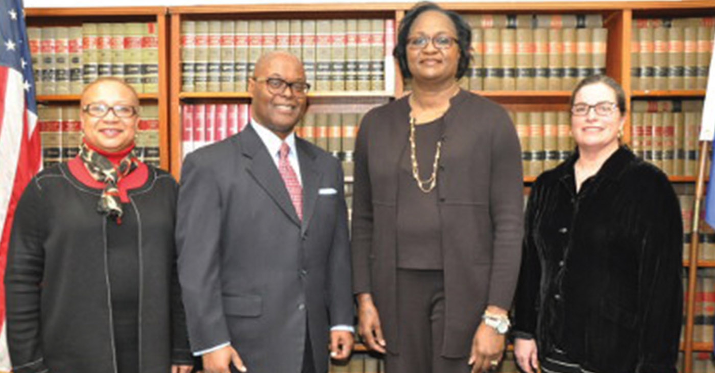 Milwaukee County Sheriff-Elect Earnell Lucas named leaders in the law enforcement, communications and legal professions to executive positions in the Milwaukee County Sheriff's Office. Lucas announced the appointments of (second from right) Dr. Denita Ball as Chief Deputy Sheriff, Faithe Colas as Director of Public Affairs and Community Engagement (far left) and Molly Zillig as Chief Legal and Compliance Officer (far right). Photo by Yvonne Kemp