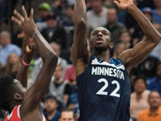 Andrew Wiggins scores for Timberwolves. Steve Floyd/MSR News