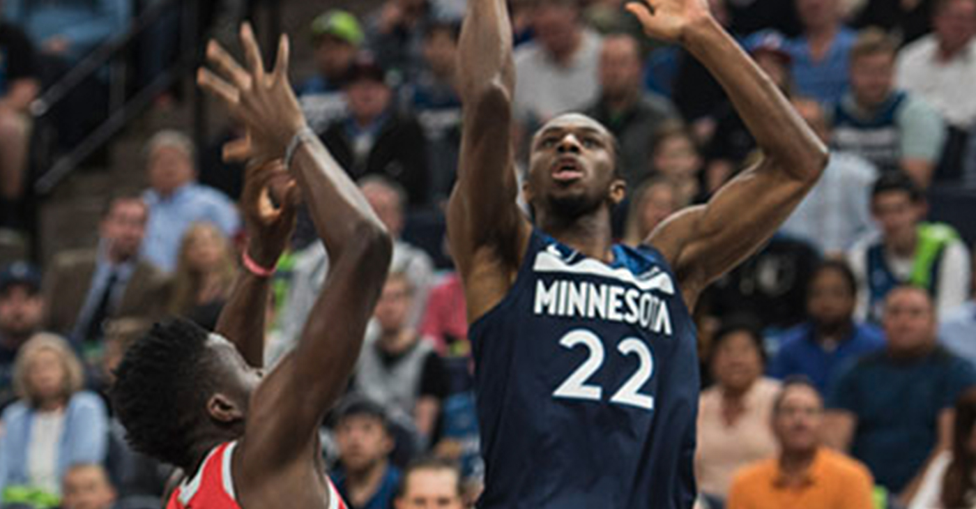 Andrew Wiggins scores for Timberwolves. Steve Floyd/MSR News