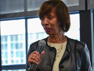"Mayor Catherine Pugh talks about the impact of technology and investments in Baltimore during a ""design jam"" hosted by Facebook in Baltimore, Md. In 2018. Facebook has partnered with community activists and civic leaders to develop and implement strategies designed to reduce violence in the city. (Freddie Allen/AMG)"
