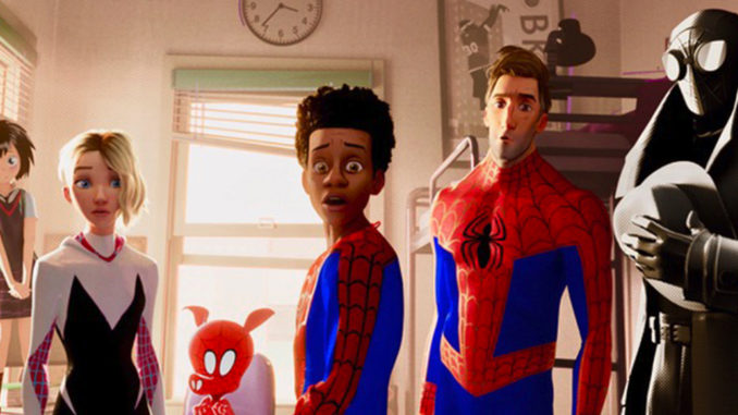 Kimiko Glenn, Hailee Steinfeld, John Mulaney, Shameik Moore, Jake Johnson and Nicolas Cage in Spiderman into the Spider-Verse