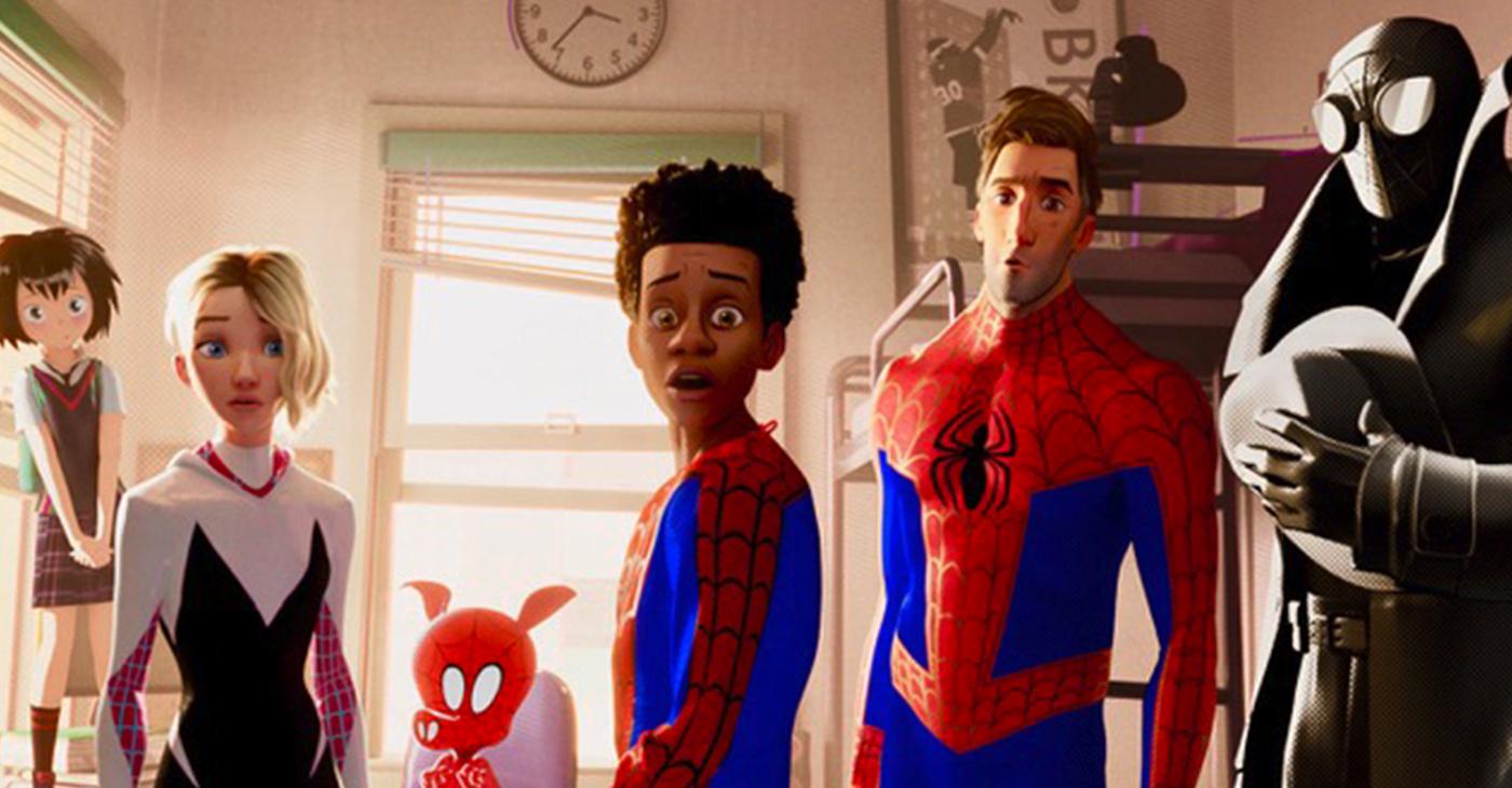 Kimiko Glenn, Hailee Steinfeld, John Mulaney, Shameik Moore, Jake Johnson and Nicolas Cage in Spiderman into the Spider-Verse