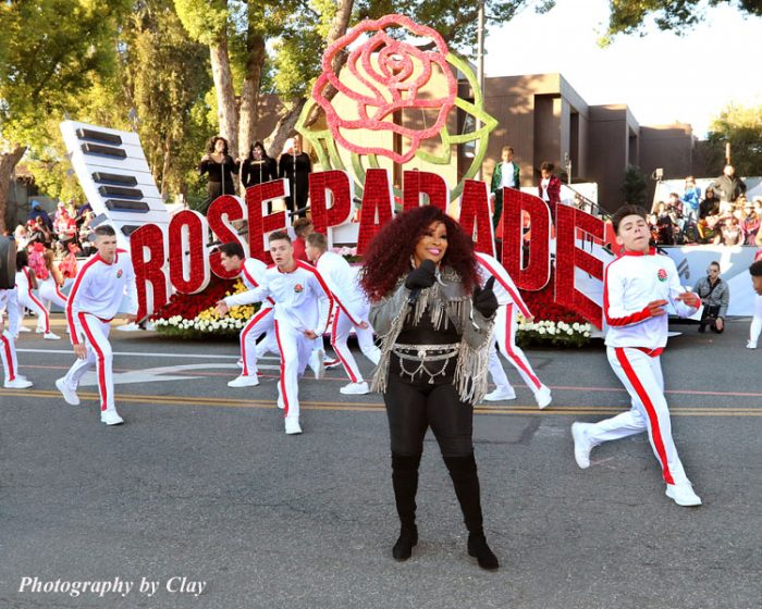 "Chaka Khan sings a medley of her songs in the Rose Parade's ""Opening Spectacular"" segment. (Clayton Everett photo)"
