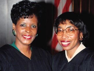 Elected City Court Judge On December 10, 1990, Earnestine Hunt Dorse (left) was sworn in by Judge Bernice Donald, who now serves on the United States Circuit Court of Appeals for the Sixth Circuit. (Courtesy photo)