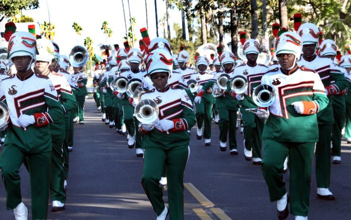 More than 200 FAMU band members performed outside First AME Church – L.A. on Dec. 30. (Clayton Everett photo)