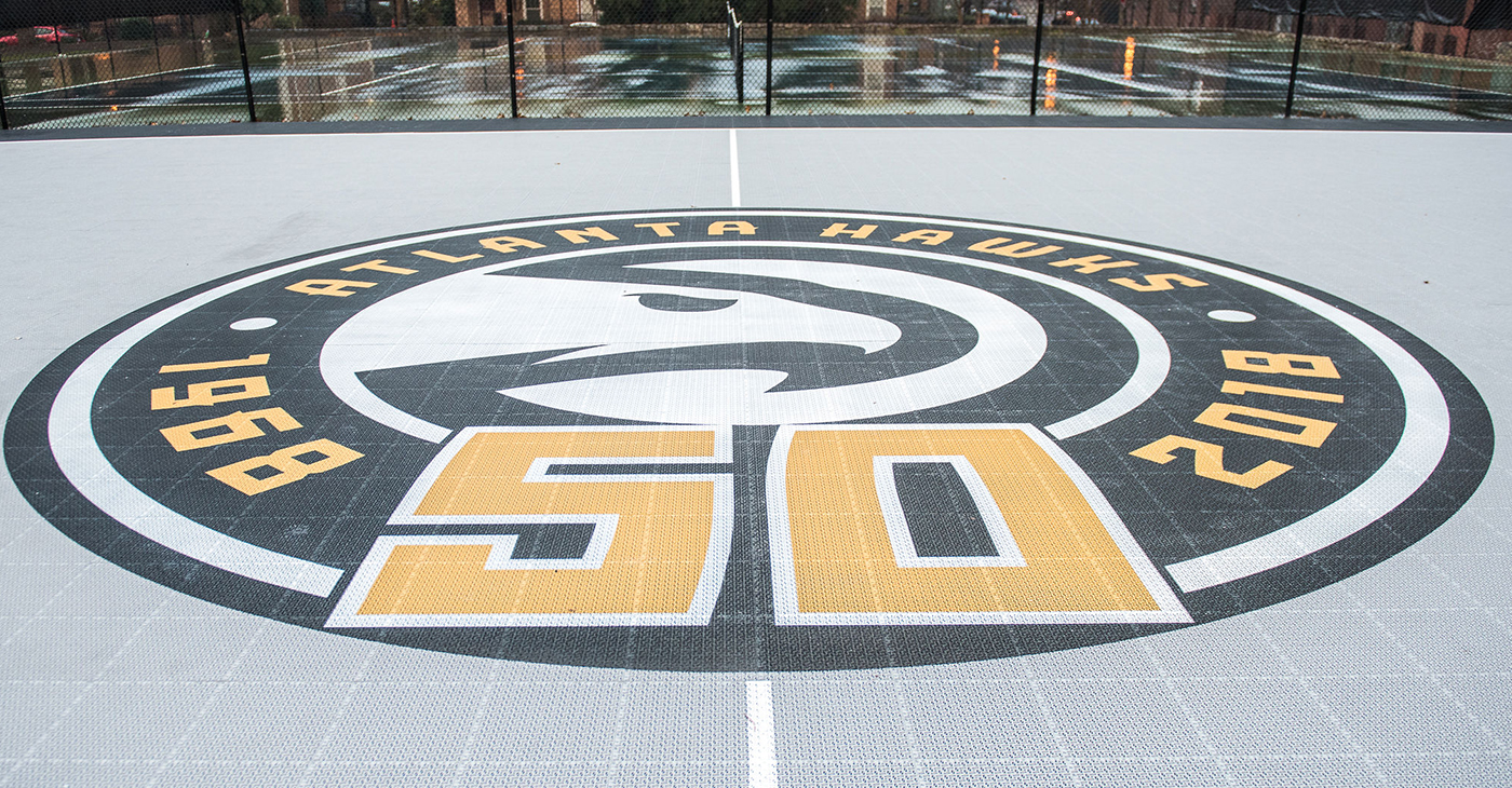 Center court of the newest community basketball court by the Atlanta Hawks at Selena S. Butler Park. (Photo by: Kat Goduco Photo)