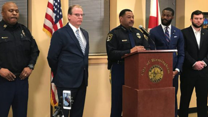 From left: North Precinct comander Capt. James Jackson, Assistant Chief of Police Allen Treadaway, Chief of Police Patrick Smith, Mayor Randall Woodfin and Birmingham City Councilor Hunter Williams. Smith and Woodfin updated the fatal shooting of a Birmingham police officer that took place early Sunday morning. (Erica Wright Photo, The Birmingham Times)