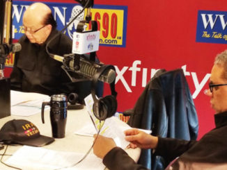 Radio talk show personality and host Cliff Kelley (left) in the studio with Retired Col. Damon Arnold, M.D. during the on air interview of former Coast Guard Lieutenant Walter Daniel; his attorney, Andrew Hoyal; and the Kaiser Health News journalist who wrote the story about the possible Supreme Court case, JoNel Aleccas.
