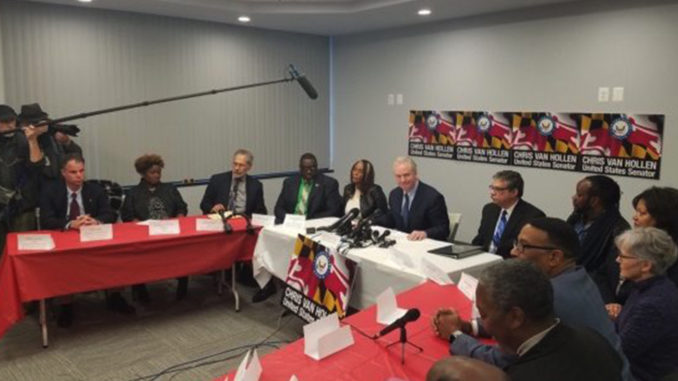 Sen. Chris Van Hollen (D-Maryland) leads a Jan. 7 roundtable discussion in Largo with federal employees affected by the government shutdown. (William J. Ford/The Washington Informer)