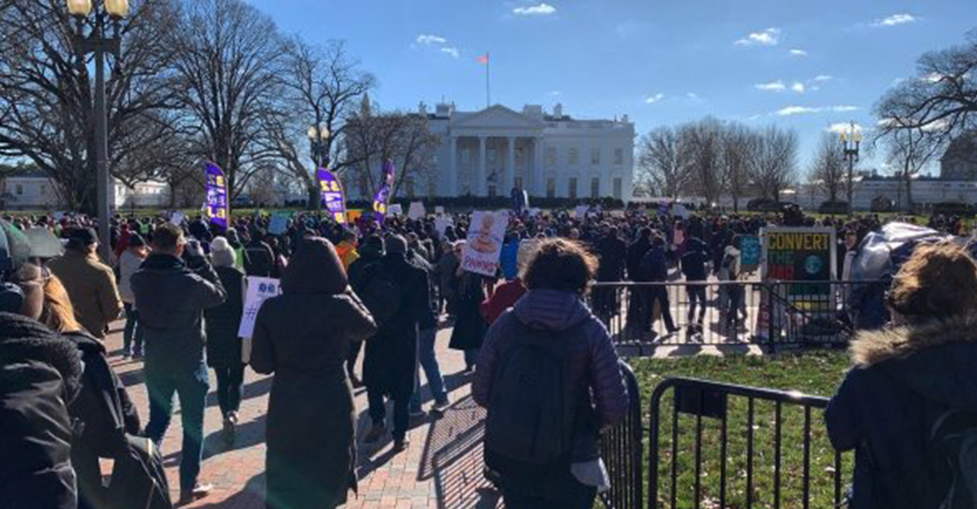 Thousands participate in a Jan. 10 rally in D.C. against the ongoing federal shutdown. (Hamil R. Harris/The Washington Informer)