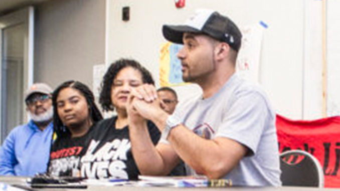 Jesse Hagopian, a high school ethnic studies teacher in Seattle, and other local educators announce their initiatives for their upcoming Black Lives Matter At School Week of Action. Photo/Aaron Allen.