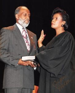 Standing at Judge Dorse's side as she was sworn in was her husband, Memphis businessman Fred O. Dorse. (Courtesy photo)
