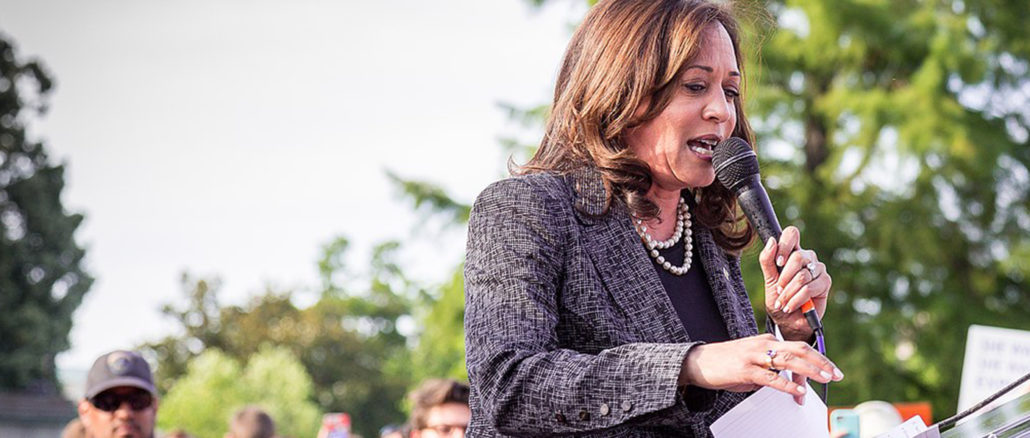 """Senator Kamala Harris speaking at """"Linking Together: March to Save Our Care"""" Rally at the U.S. Capitol on June 28, 2017. (Photo by: Douglas Fron 