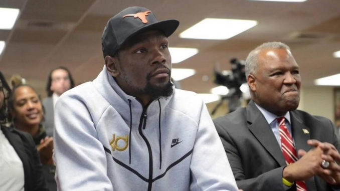 NBA Superstar Kevin Durant joins former Prince George's County Executive Rushern Baker during the formal Launch of the College Track Durant Center in Suitland, MD. (Courtesy Photo)