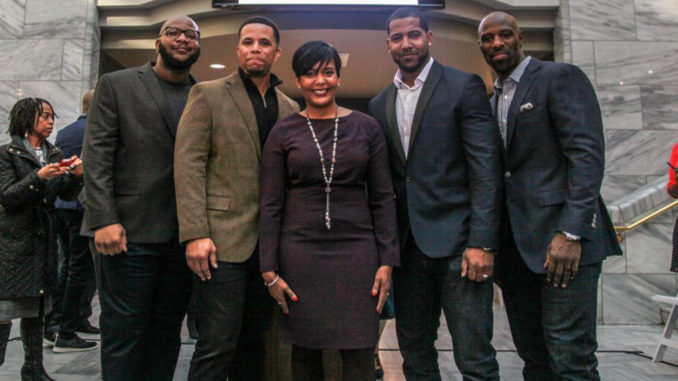 Mayor Keisha Lance Bottoms (Center) with reps from NFL officials, Boys & Girls Club of America, and Radio One. (Photo by: Que Fullwood)