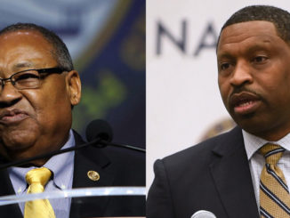 NAACP National Board of Directors Chairman Leon W. Russell and NAACP President and CEO Derrick Johnson