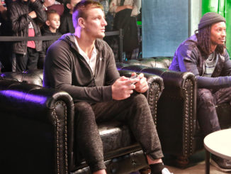New England Patriots tight end Rob Gronkowski and Los Angeles Rams running back Todd Gurley faced off in Madden 19 on Tuesday, January 29, 2019 in Atlanta. (Photo courtesy: XBOX)