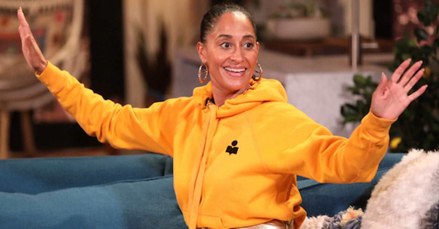 "Tracee Ellis Ross on the set of ""Busy Tonight"" (Jordin Althaus/E! Entertainment/NBCU Photo Bank)"