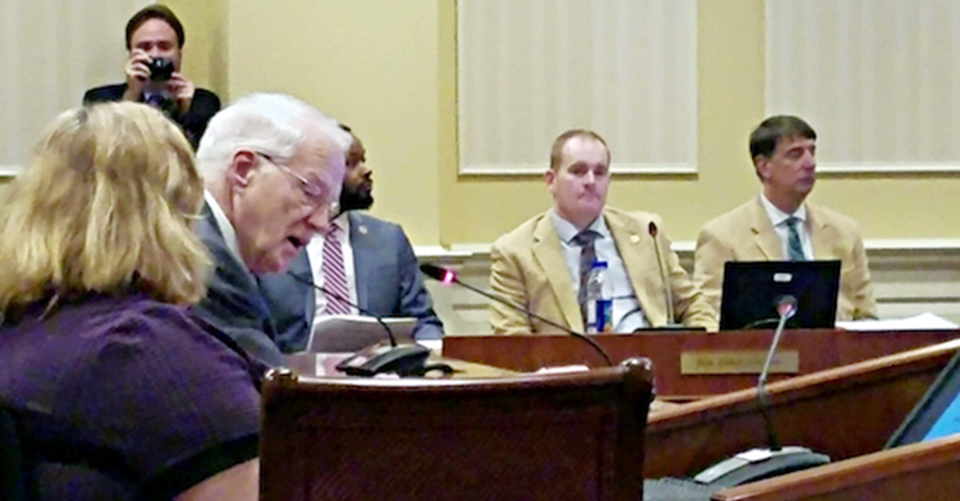 "William E. ""Brit"" Kirwan (second from left) briefs two Maryland Senate committees in Annapolis on a proposal to restructure the state's public education system on Jan. 24. (William J. Ford/The Washington Informer)"