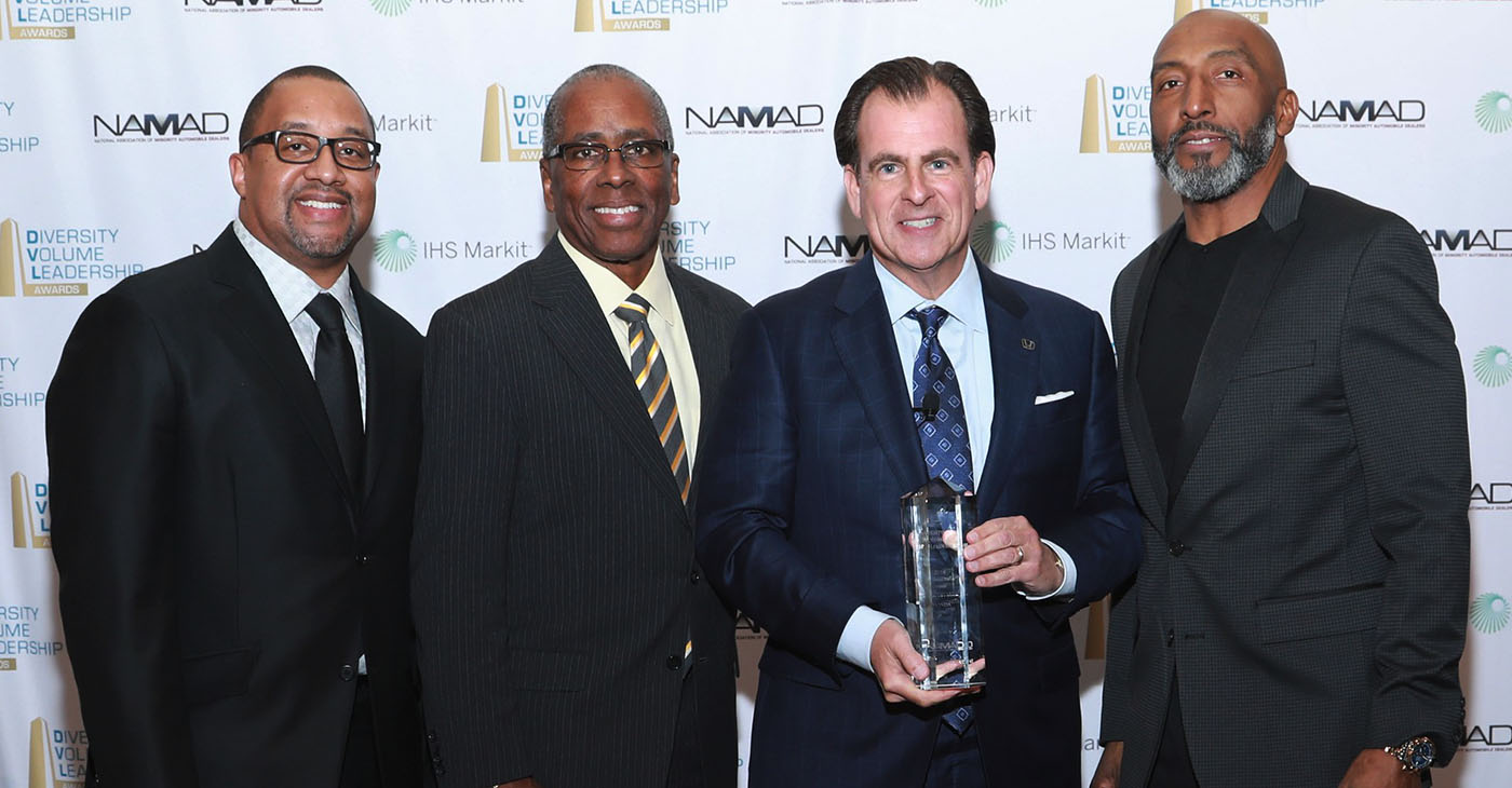 From left to right: Damon Lester, President of the National Association of Minority Automobile Dealers, Irving Matthews, Chairman of NAMAD, Henio Arcangeli Jr., Sr. Vice President Automobile Division, American Honda Motor Company, Marc Bland, Sr. VP Diversity and Inclusion, IHS Markit.
