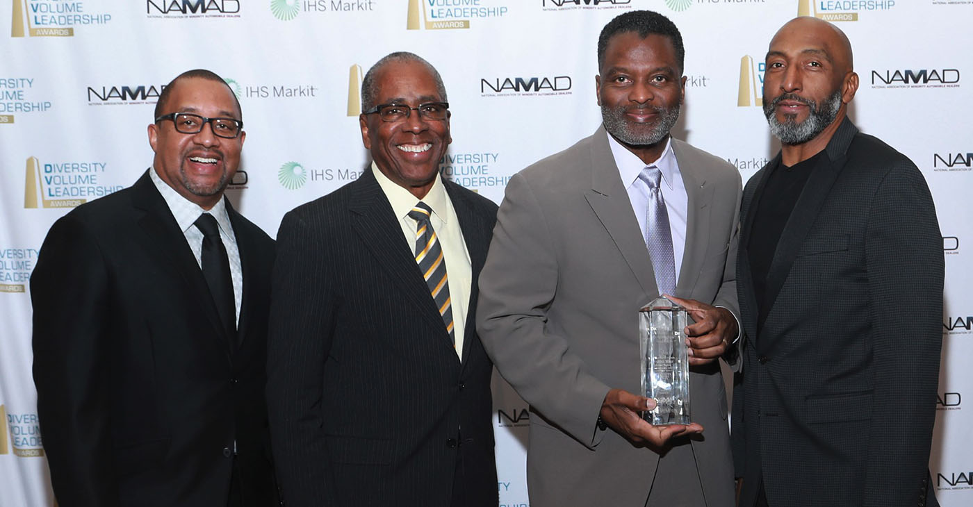From left to right: Damon Lester, President of the National Association of Minority Automobile Dealers, Irving Matthews, Chairman of NAMAD, Al Smith, Global Vice President and Chief Social Innovation Officer, Toyota Motor North America, Marc Bland, Sr. VP Diversity and Inclusion, IHS Markit