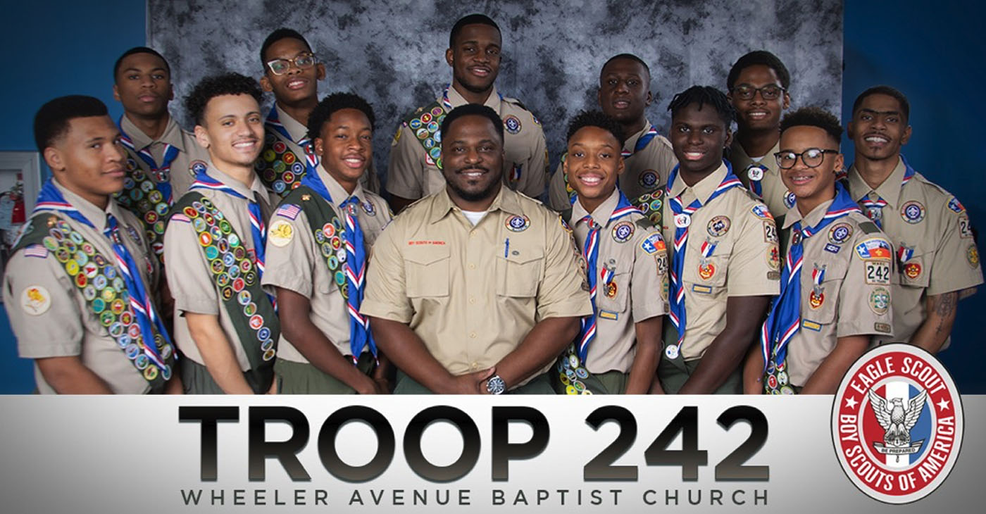 Shane Bennett, Dameion Crook II, Dylan Gaines, Kyle Gaines, Chandler Green, Daniel Hinton, Marshall Hudson, Marcellus Jordan III, Eron Lord, Eric Sims, Asa Singleton and Benjamin White are all a part of Boy Scout Troop 242, a historic troop located at Wheeler Ave Baptist Church.