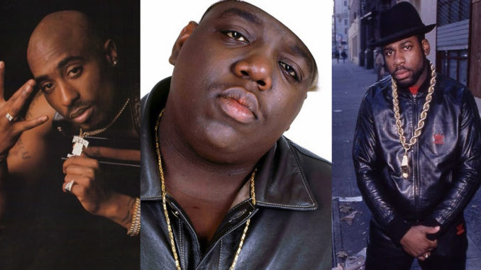 "Tupac Shakur, Christopher ""Notorious B.I.G."" Wallace and Jason ""Jam Master Jay"" Mizell. Photos: YouTube"