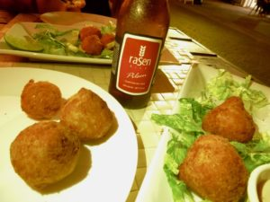 Boteco Copacabana Rasen Beer, codfish and chicken croquets