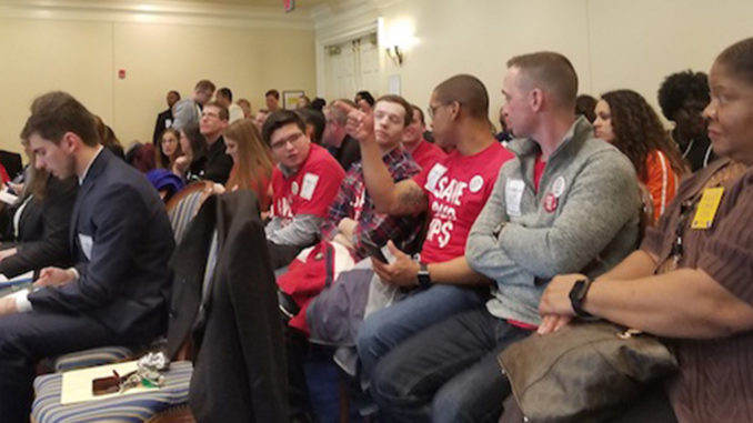 Dozens fill a hearing room in Annapolis to testify about proposed legislation to raise Maryland's minimum wage to $15 an hour on Feb. 8. (William J. Ford/The Washington Informer)