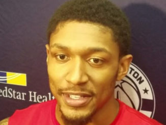 Washington Wizards shooting guard Bradley Beal speaks with reporters at the Entertainment and Sports Arena in D.C. on Feb. 1, one day after being voted to a second consecutive NBA All-Star Game. (William J. Ford/The Washington Informer)