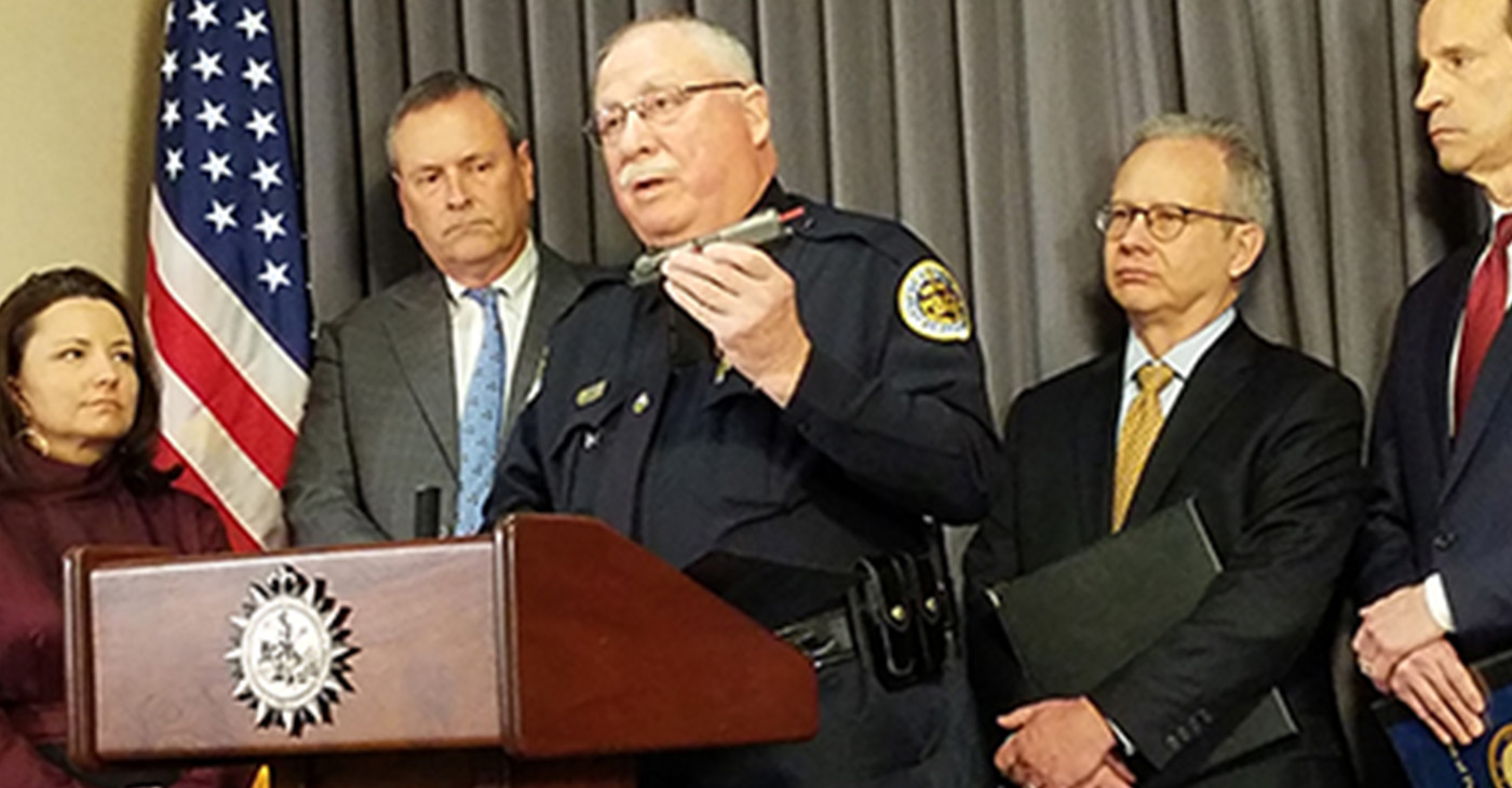 Chief Steve Anderson holds a nine millimeter semi-automatic pistol that was recovered from the bedroom of a convicted drug felon in 2016 by MNPD Gang detectives during a State of Tennessee probation check. Scientific analysis of the gun showed that it was used in three separate shooting incidents on Westchester Drive, Forest Park Road, and Gwynnwood Drive in 2015. The convicted drug felon was charged in U.S. District Court and is now in federal prison. Photo submitted