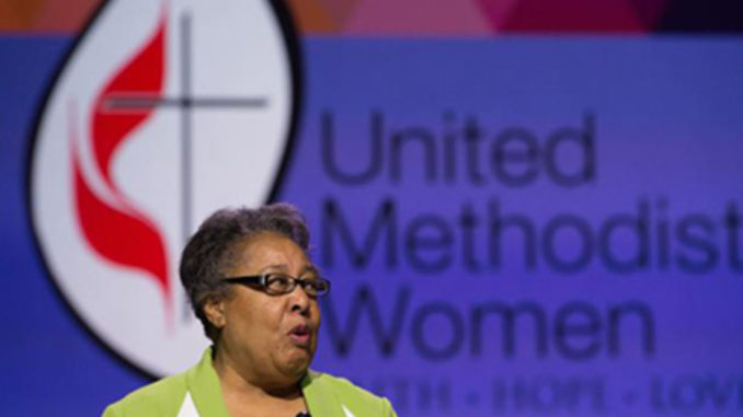 "United Methodist deaconess, Clara Ester, who witnessed King's assassination, feels a ""God-assigned responsibility"" to reach out and make the world better (photo by Mike DuBose, United Methodist Communications)."