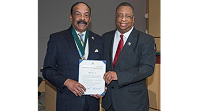 Metropolitan King County Councilmember Larry Gossett, right, with Martin Luther King, Jr. Medal of Distinguished Service recipient Eddie Rye, Jr.