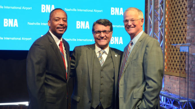 l-r; Dr. Dexter Samuels, Chair of the BNA Board of Commissions; Ben Zandi, President and CEO of Fraport USA and Doug Kreulen, Nashville International Airport President/CEO (Photo by: Ms. June)