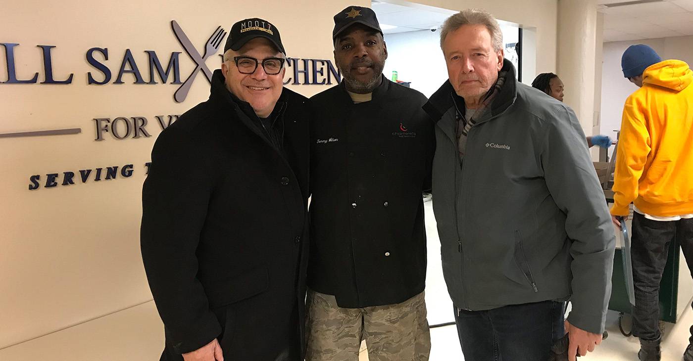 Mootz owner Tony Sacco, chef Tommy Wilson of the veteran's shelter, and Mootz investor Dean Walters. (Photo by: michronicleonline.com)