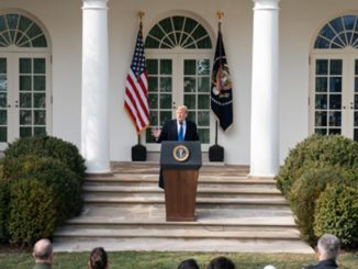President Donald J. Trump delivers remarks Feb. 15 in the Rose Garden of the White House, on the national security and humanitarian crisis on the southern border of the United States (photo by Joyce N. Boghosian/The White House).