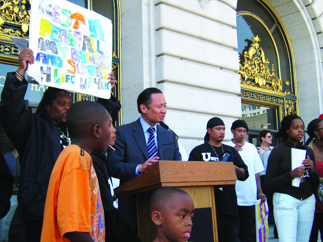 """Jeff Adachi was loved, admired and trusted as if he were """"one of us,"""" as Black folks would often say, a true brother in the human family. Here he speaks at a Silence the Violence rally organized by United Playaz on June 18, 2009. – Photo: Francisco Da Costa"""