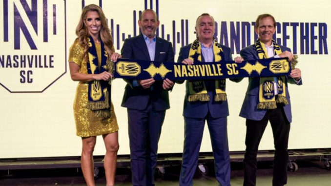 Nashville MLS expansion team crest, logo, and colors were unveiled at a celebration at Marathon Music Works.