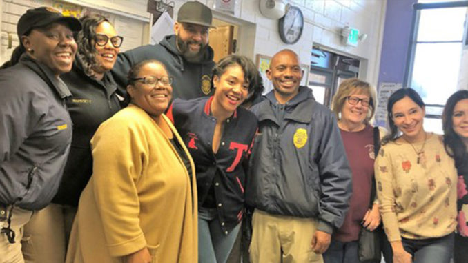 Tiffany Haddish (center) Visiting with Staff at L.A. County Probation's Camp Scott. (courtesy photo)