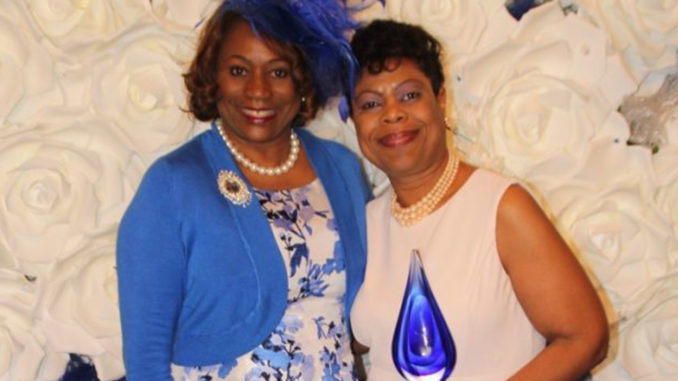 Zeta International President Valerie Hollingsworth-Baker (left) of Brooklyn, N.Y. congratulates East Point, Ga., Councilwoman Sharon Shropshire (right) who received the Spirit of Zeta award for courageously fighting to improve the lives of Georgia residents. Stacey Abrams, political activist and Founder of Fair Fight Action was also recognized by the sorority for her service. Credit: Gee Bee Productions