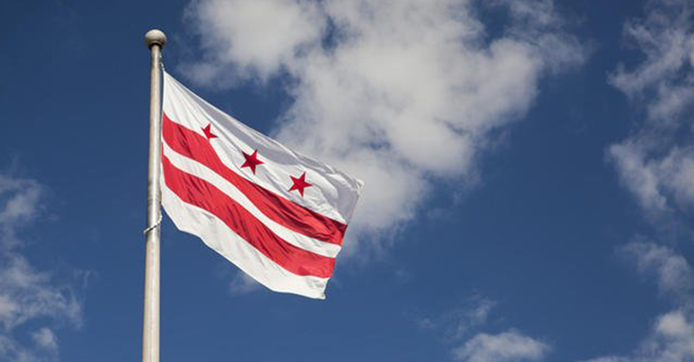 Flag of the District of Columbia (Courtesy of dpw.dc.gov)