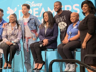 Doni Holloway, DDA: 2014, who is now with the Bloomberg News headquarters in New York City; Michelle Ebanks; Marcus Scribner; Trevor Jackson; Sanah Jivani, DDA 2015, CEO Of The Love Your Natural Self Foundation; and Annette Gibbs, Public Relatiins Manager, Walt Disney World, pose for photo at Press Luncheon. (Photos by LaToyia Dennis/The Motivated Mom)